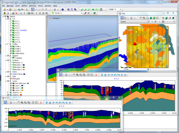 GeoScene3D | GIS | Cross sections | 3D Software